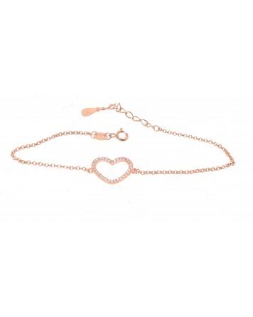 Bραχιόλι καρδιά - Ροζ χρυσό - Ασήμι 925°