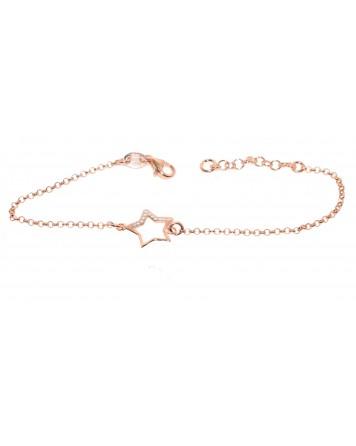 Bραχιόλι αστέρι - Ροζ χρυσό - Ασήμι 925°