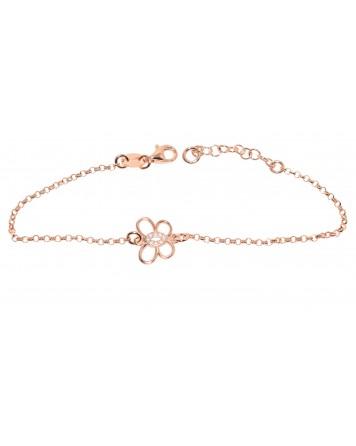 Bραχιόλι πεταλούδα - Ροζ χρυσό - Ασήμι 925°