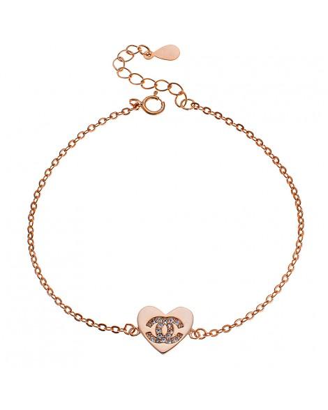 Bραχιόλι καρδιά-Ροζ χρυσό - Ασήμι 925°