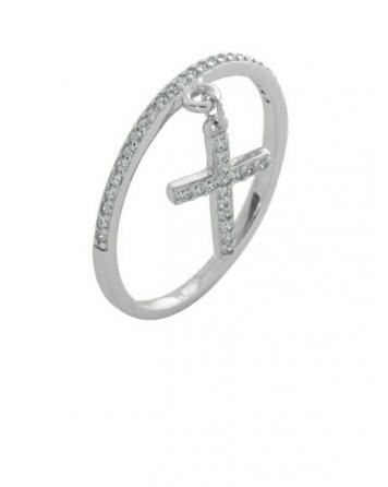 Δαχτυλίδι βεράκι με σταυρό-Ασήμι 925°