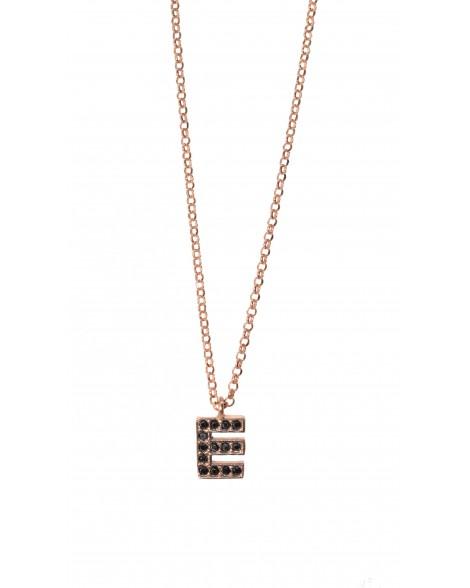 """Κολιέ μονόγραμμα """"E""""-Ροζ χρυσό-Ασήμι 925°"""