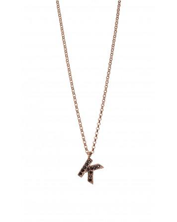 """Κολιέ μονόγραμμα """"K""""-Ροζ χρυσό-Ασήμι 925°"""