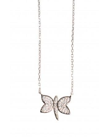 Κολιέ πεταλούδα - Ασήμι 925°