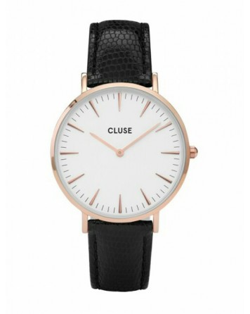 CLUSE-LA BOHÈME ROSE GOLD WHITE/BLACK LIZARD