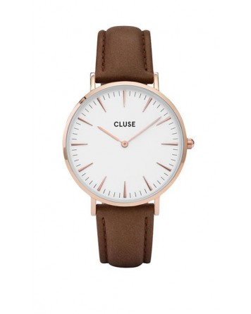CLUSE-LA BOHÈME ROSE GOLD WHITE/BROWN-Stainless Steel Strap-CL18010