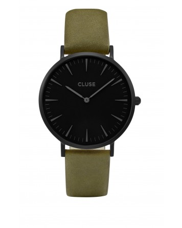 CLUSE-LA BOHÈME FULL BLACK/OLIVE GREEN-Stainless Steel Strap-CL18502