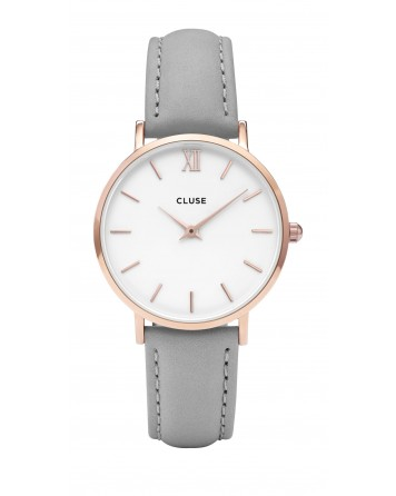 CLUSE-MINUIT ROSE GOLD WHITE/GREY-Stainless Steel Strap-CL30002