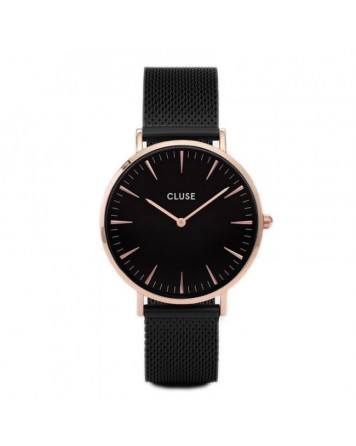 CLUSE-LA BOHÈME MESH ROSE GOLD BLACK/BLACK-Stainless Steel Strap-CL18034