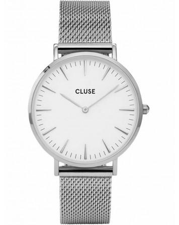 CLUSE-LA BOHÈME MESH SILVER/WHITE-Stainless Steel Strap-CL18105