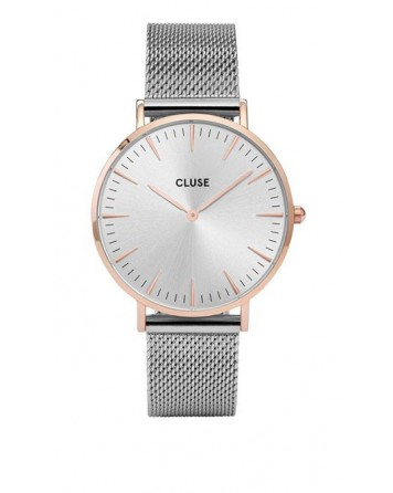 CLUSE-LA BOHÈME MESH ROSE GOLD/SILVER-Stainless Steel Strap-cl18116