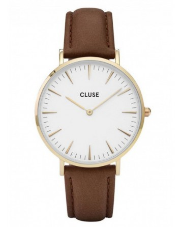 CLUSE-LA BOHÈME GOLD WHITE/BROWN-Stainless Steel Strap-CL18408