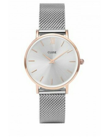 CLUSE-MINUIT MESH ROSE GOLD/SILVER-Stainless Steel Strap-cl30025