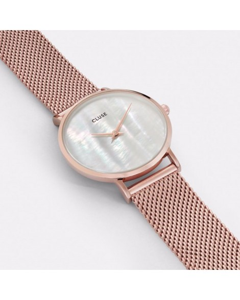 CLUSE-MINUIT LA PERLE MESH ROSE GOLD/WHITE PEARL-Stainless Steel Strap-CL30047