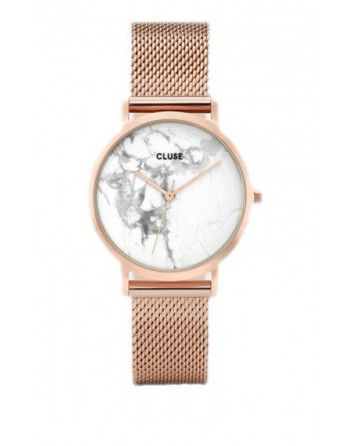 CLUSE-LA ROCHE PETITE MESH ROSE GOLD/WHITE MARBLE-Stainless Steel Strap-CL40107