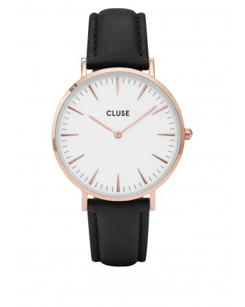 CLUSE-LA BOHÈME ROSE GOLD WHITE/BLACK-Stainless Steel Strap-CL18008