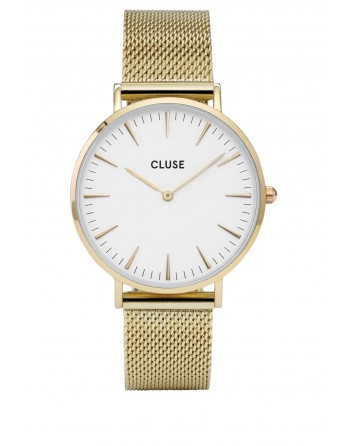 CLUSE-LA BOHÈME MESH GOLD/WHITE-Stainless Steel Strap-cl18109