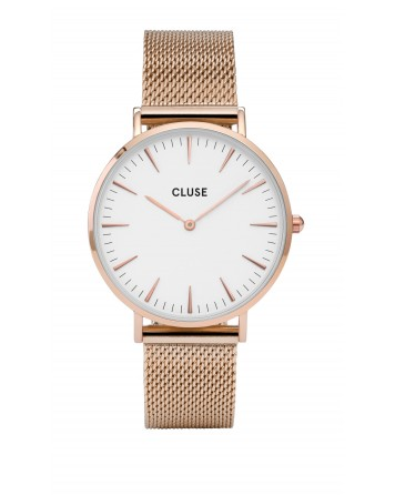 CLUSE-LA BOHÈME MESH ROSE GOLD/WHITE-Stainless Steel Strap-CL18112
