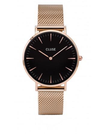 CLUSE-LA BOHÈME MESH ROSE GOLD/BLACK-Stainless Steel Strap-CL18113