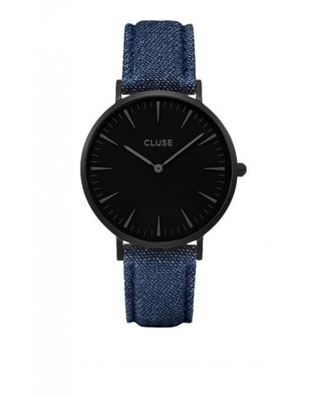 CLUSE-LA BOHÈME FULL BLACK/BLUE DENIM-Stainless Steel Strap-CL18507