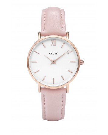 CLUSE-MINUIT ROSE GOLD WHITE/PINK-Stainless Steel Strap-CL30001