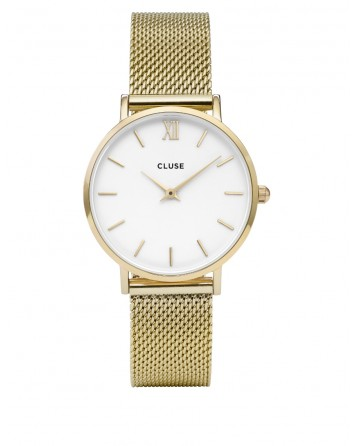 CLUSE-MINUIT MESH GOLD/WHITE-Stainless Steel Strap-CL30010