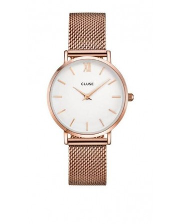 CLUSE-MINUIT MESH ROSE GOLD/WHITE-Stainless Steel Strap-CL30013