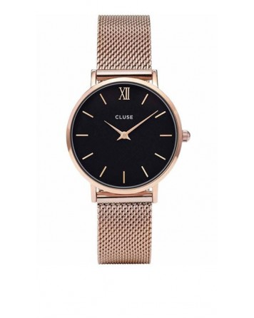 CLUSE-MINUIT MESH ROSE GOLD/BLACK-Stainless Steel Strap-CL30016