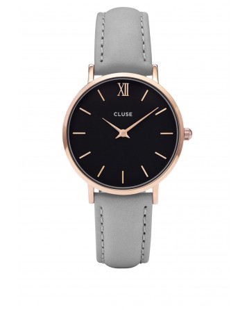 CLUSE-MINUIT ROSE GOLD BLACK/GREY-Stainless Steel Strap-CL30018
