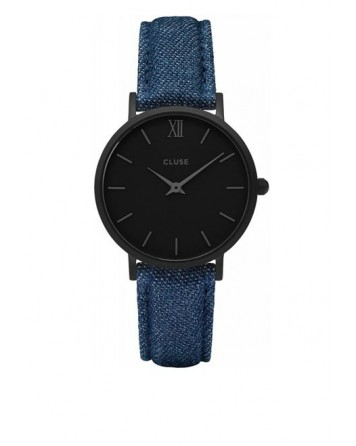 CLUSE-MINUIT FULL BLACK/BLUE DENIM-Stainless Steel Strap-CL30031