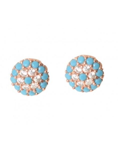 Καρφωτά σκουλαρίκια άπειρο-Ροζ χρυσό - Ασήμι 925°